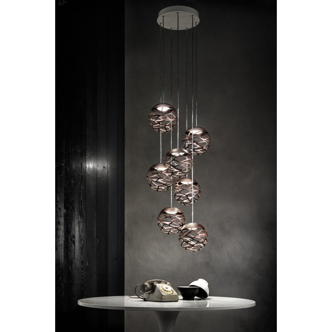 Kelly Cluster 7 Light Round Multi Light Pendant  by Studio Italia Design