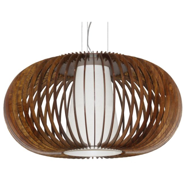 Wooden Oval Turned Slats Pendant  by Accord Iluminacao