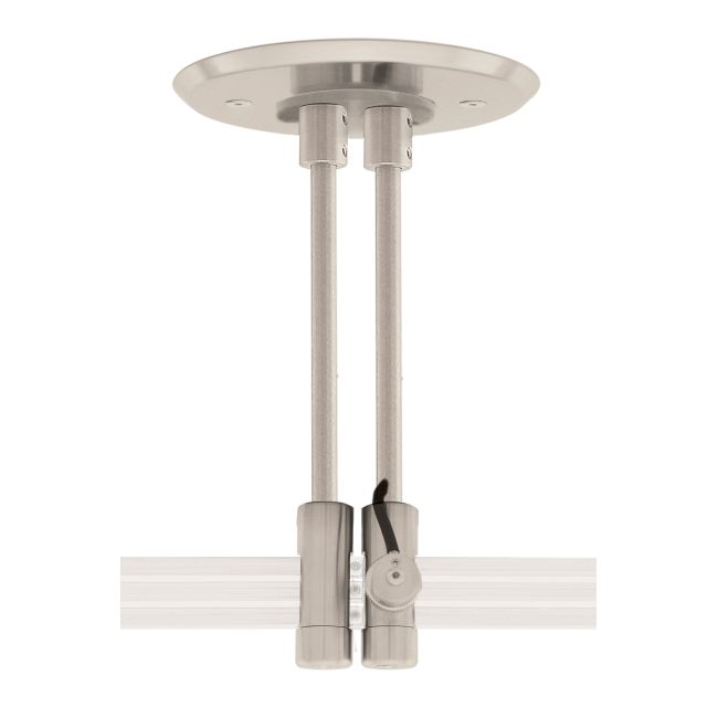 Monorail 2-Circuit 4 Inch Round Dual Feed Canopy by PureEdge Lighting   M2PD-4RD-6-SN