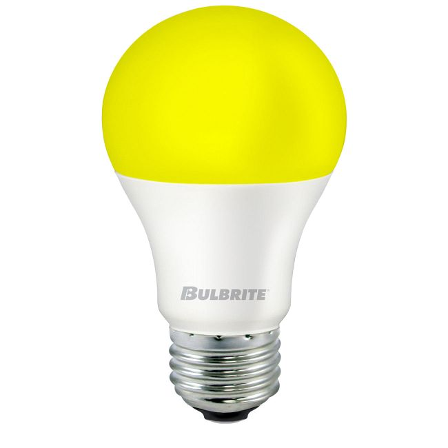 A19 Med Base Yellow Bug 9.5W 120V 2700K 80CRI  by Bulbrite