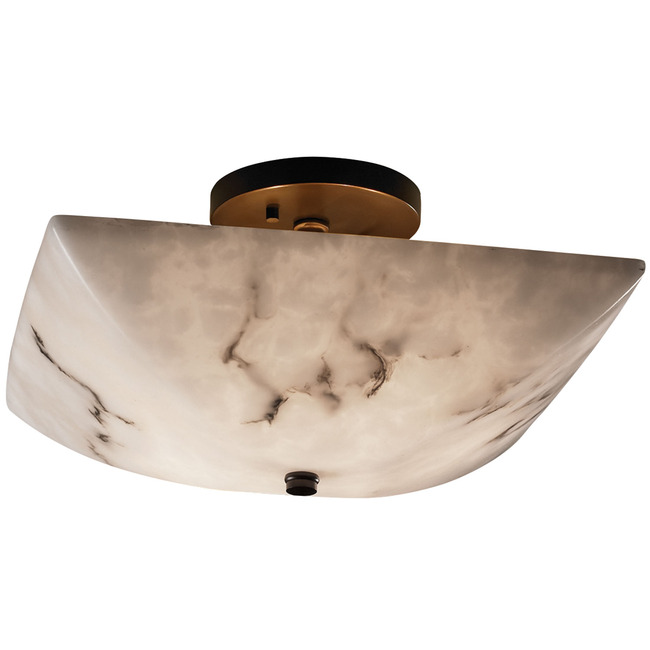 Square Bowl Semi Flush Ceiling Mount by Justice Design | FAL-9695-25-DBRZ