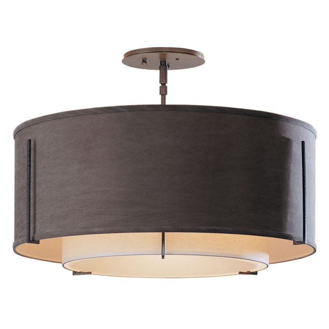 Exos Round Double Shade Semi Flush Ceiling Light by Hubbardton Forge | 126503-1100
