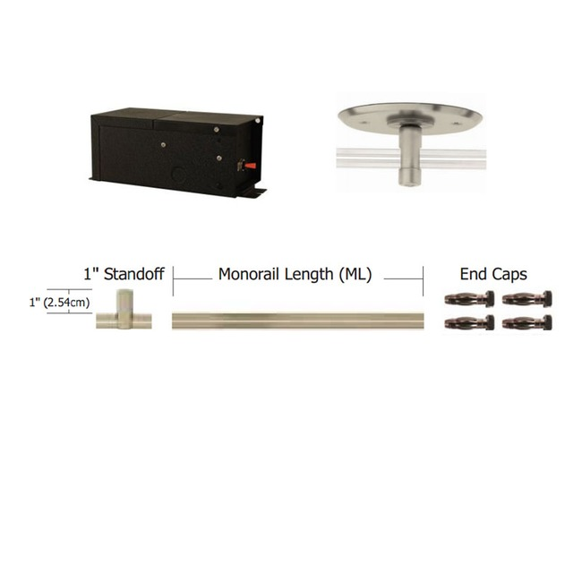 Monorail Straight Kit 150W Halogen Remote Magnetic by PureEdge Lighting | T-150-12-K12-SN