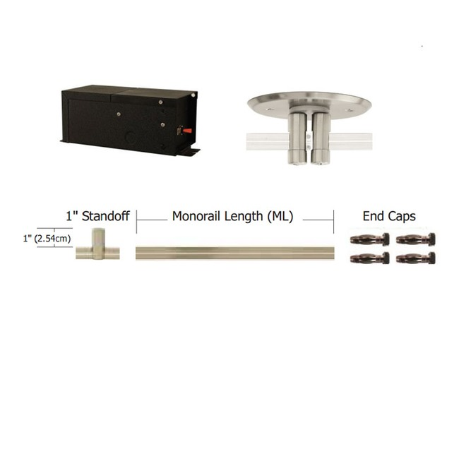 Monorail 12V Straight Kit 600W Remote Dual Feed Magnetic by PureEdge Lighting   T-600-D12-K16-SN