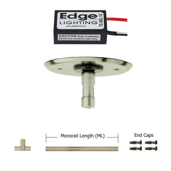 Monorail 12V LED Straight Kit 60W Remote Electronic by PureEdge Lighting | mte-60l-12-k12-sn