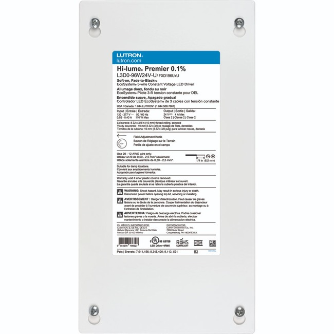Hi-Lume Premier 96W Constant Current LED Driver 24V  by Lutron