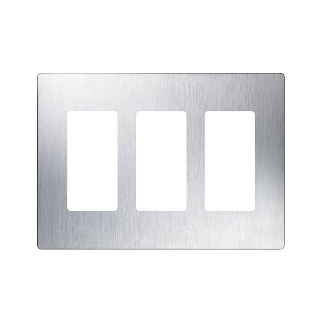 Claro Designer Style 3 Gang Wall Plate by Lutron | cw-3-ss