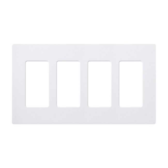 Claro Designer Style 4 Gang Wall Plate by Lutron | cw-4-wh