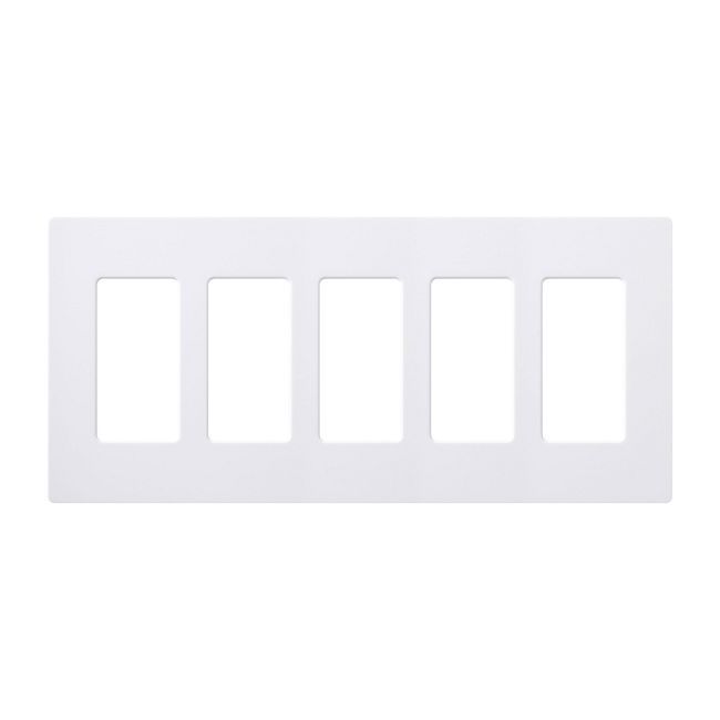 Claro Designer Style 5 Gang Wall Plate by Lutron | cw-5-wh