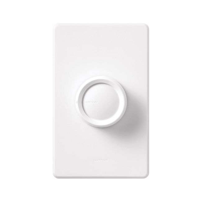 Rotary On/Off 600W Incandescent Single Pole Dimmer by Lutron   d-600r-wh
