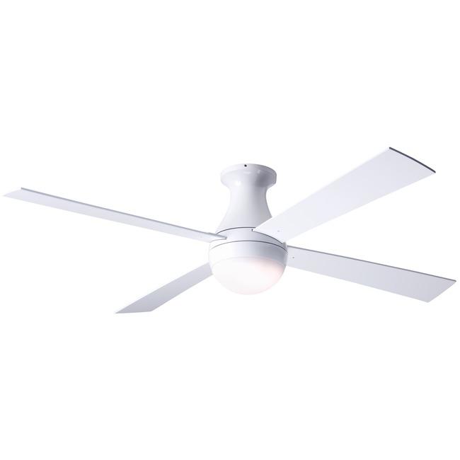 Ball Flush Ceiling Fan with LED Light by Modern Fan Co. | BAL-FM-GW-42-WH-652-003