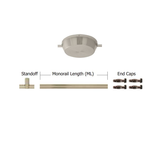 Monorail 12V Straight Kit 600W Surface Dual Feed Magnetic by PureEdge Lighting | MT-600-D12-K8-SN