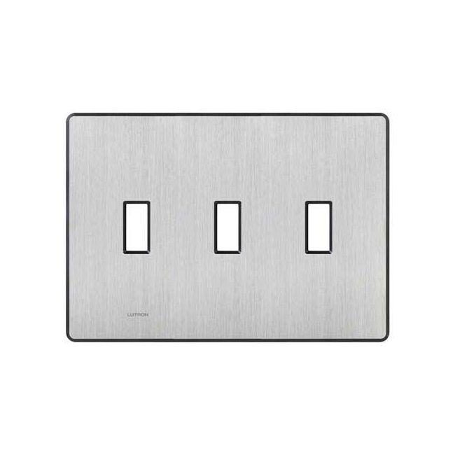Fassada 3 Gang Wall Plate by Lutron | FW-3-SS
