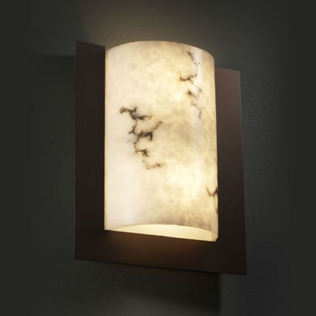 Framed Rectangle 3 Sided Wall Sconce by Justice Design | FAL-5562-DBRZ