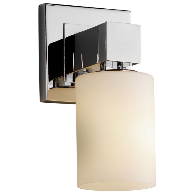 Aero Cylinder Flat Rim Fusion Wall Sconce by Justice Design | FSN-8705-10-OPAL-CROM