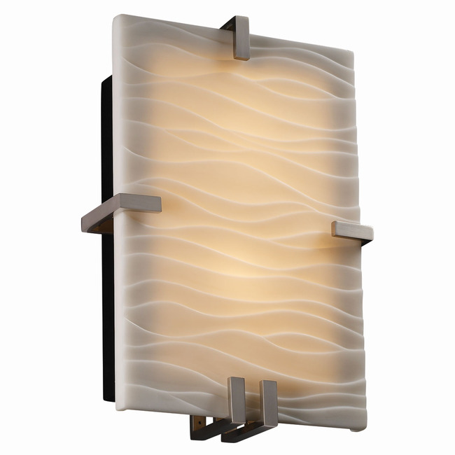 Clips Rectangle Wall Sconce by Justice Design | PNA-5551-WAVE-NCKL