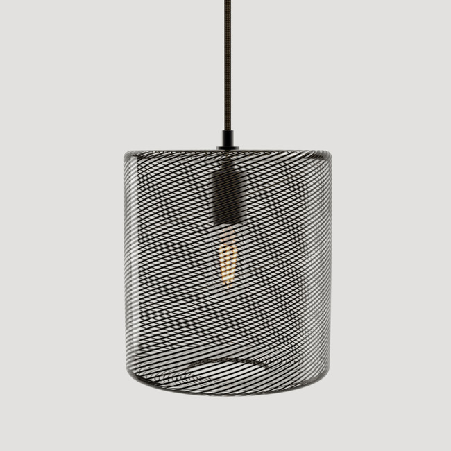 Cane Charcoal Drift Drum Pendant  by Keep Lighting