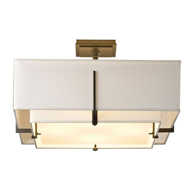 Exos Square Double Shade Semi Flush Ceiling Light  by Hubbardton Forge