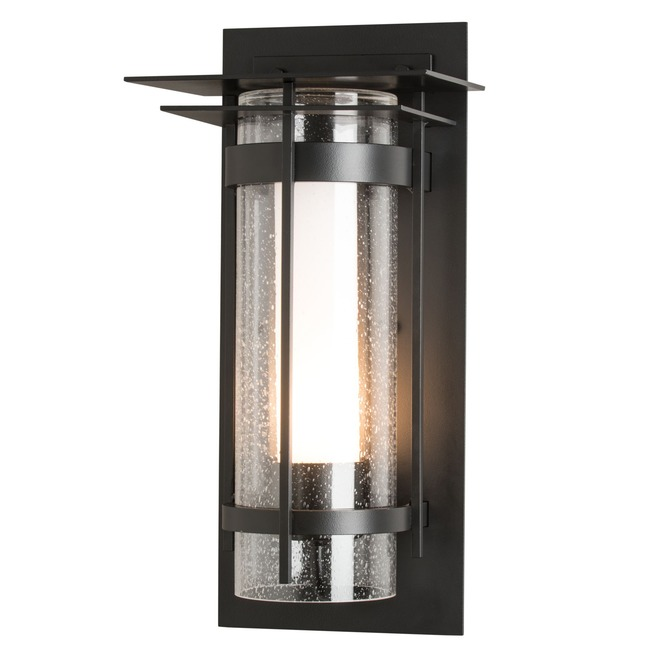 Banded Seeded Glass with Top Plate Outdoor Wall Sconce  by Hubbardton Forge