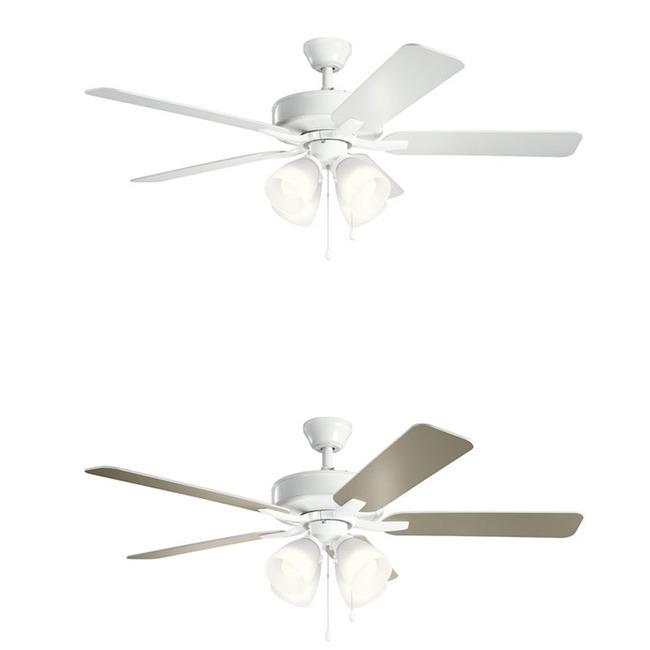 Basics Pro Premier Ceiling Fan with White Shade Light Kit  by Kichler
