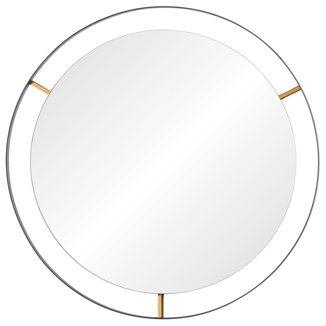 Framed Round Wall Mirror  by Rogue Decor