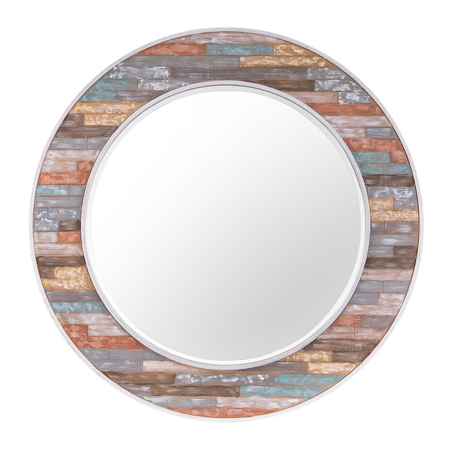 Colorful Waxed Plank Mirror  by Rogue Decor