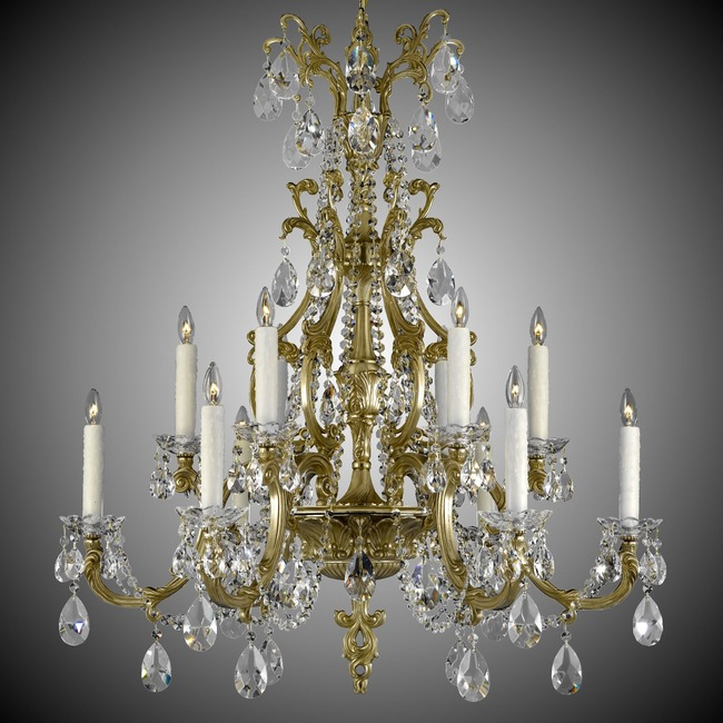 Blairsden 12 Light Chandelier  by American Brass & Crystal