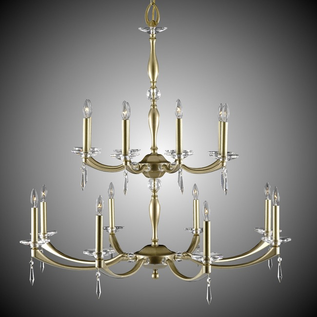 Kensington Two Tier Chandelier  by American Brass & Crystal