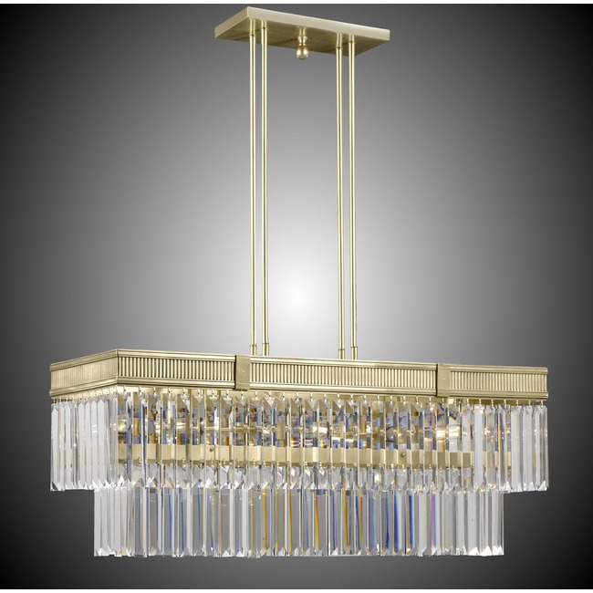 Valencia Brass Linear Chandelier  by American Brass & Crystal