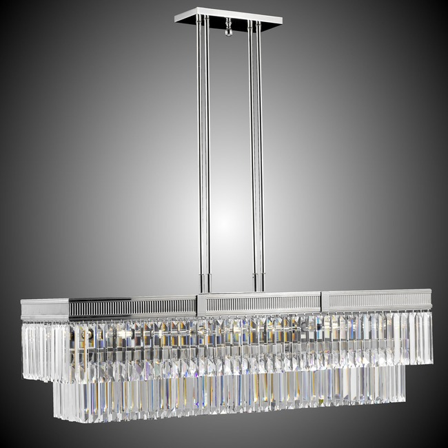 Valencia Rectangular Chandelier  by American Brass & Crystal