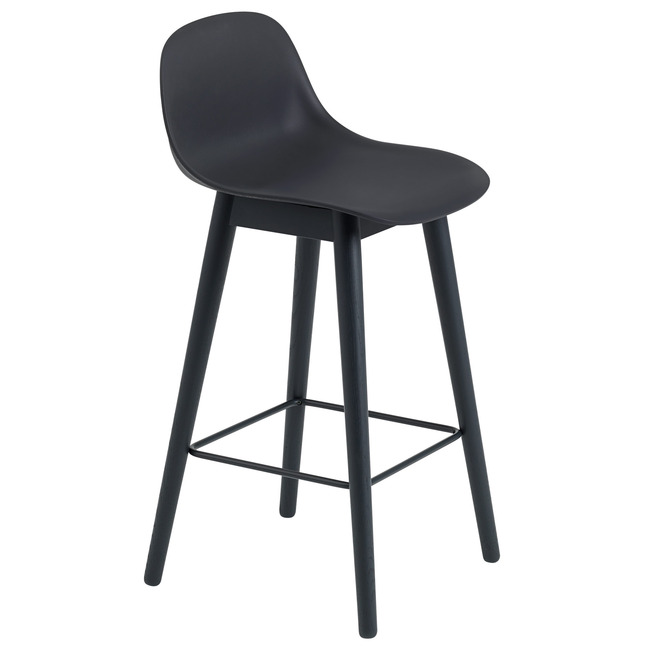 Fiber Counter Stool Wood Base With Backrest  by Muuto