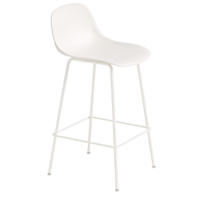 Fiber Counter Stool Tube Base With Backrest  by Muuto