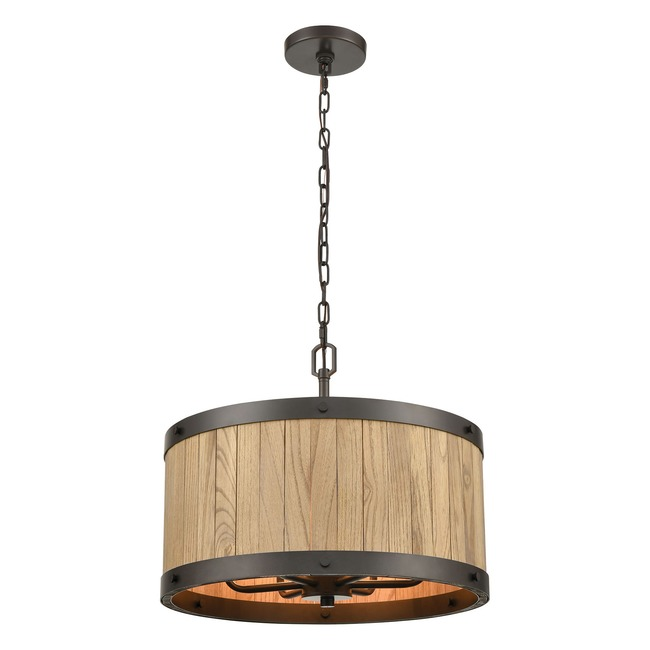 Wooden Barrel Chandelier  by Elk Lighting