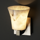 Modular Round Flared Wall Sconce - Brushed Nickel / Faux Alabaster