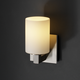Modular Cylinder Flat Rim Fusion Wall Sconce - Brushed Nickel / Opal