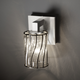 Modular Cylinder Flat Rim Wire Glass Wall Sconce - Brushed Nickel / Swirl with Clear Bubbles