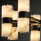 Dakota Broken Rim Cylinder Chandelier - Matte Black / Faux Alabaster
