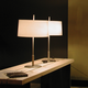 Diana Menor Table Lamp - Satin Nickel / White Linen