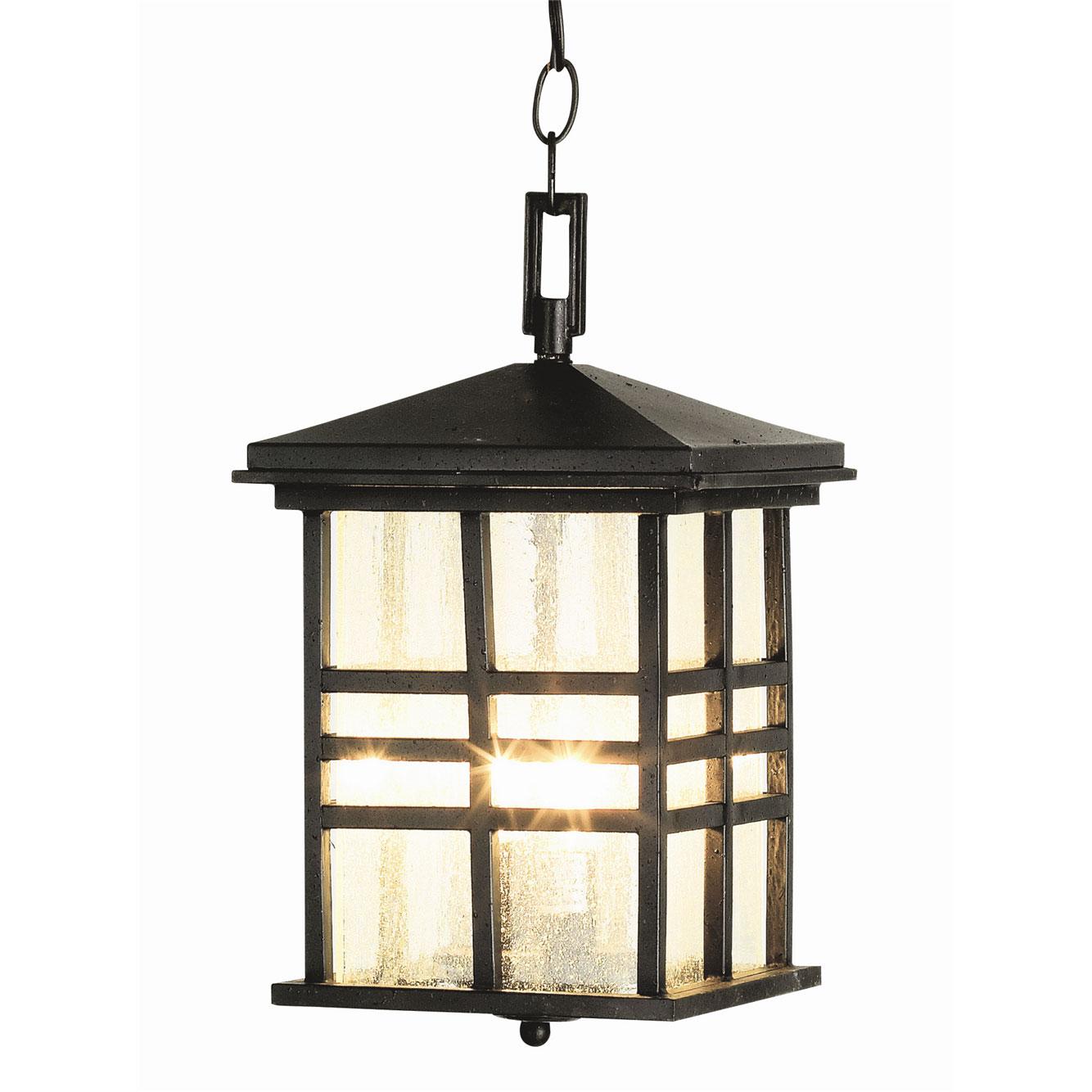 Rustic craftsman outdoor hanging lantern by trans globe 4638 bk