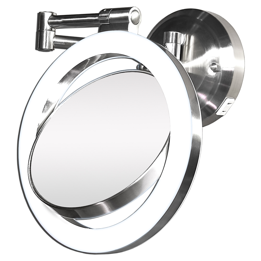 Wall Makeup Mirror 1x surround swivel wall mount mirror - hard wire readyzadro