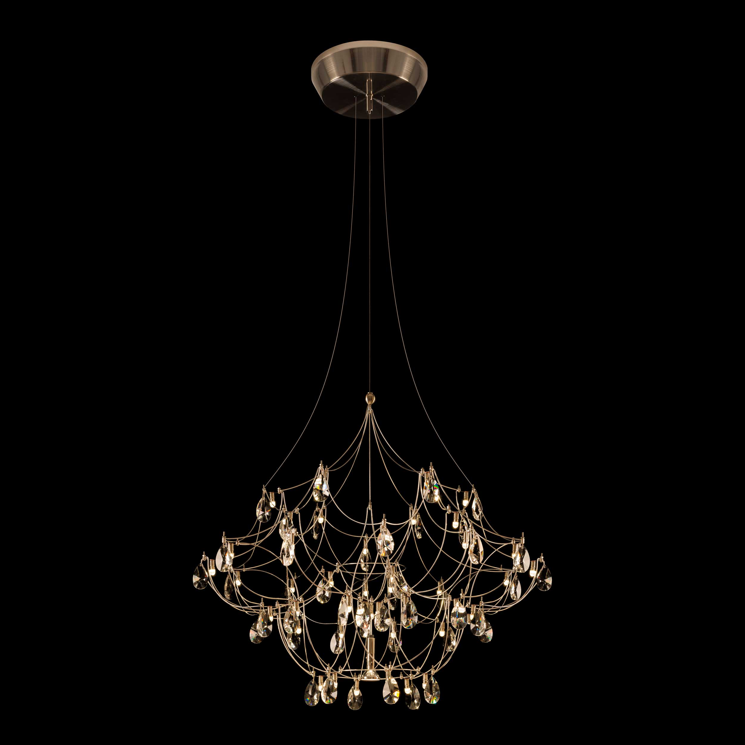 crystal galaxy chandelier with downlight by edge lighting. Black Bedroom Furniture Sets. Home Design Ideas