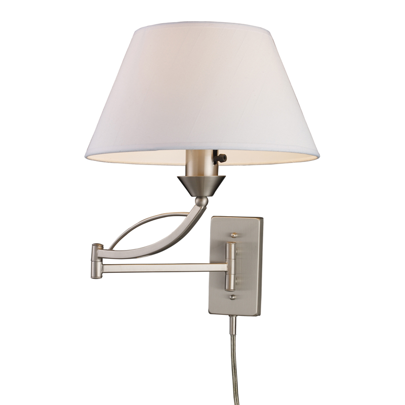 Wall Mounted Bedside Lamp With Plug : Elysburg Swing Arm Plug-in Wall Sconce by Elk Lighting 17016/1