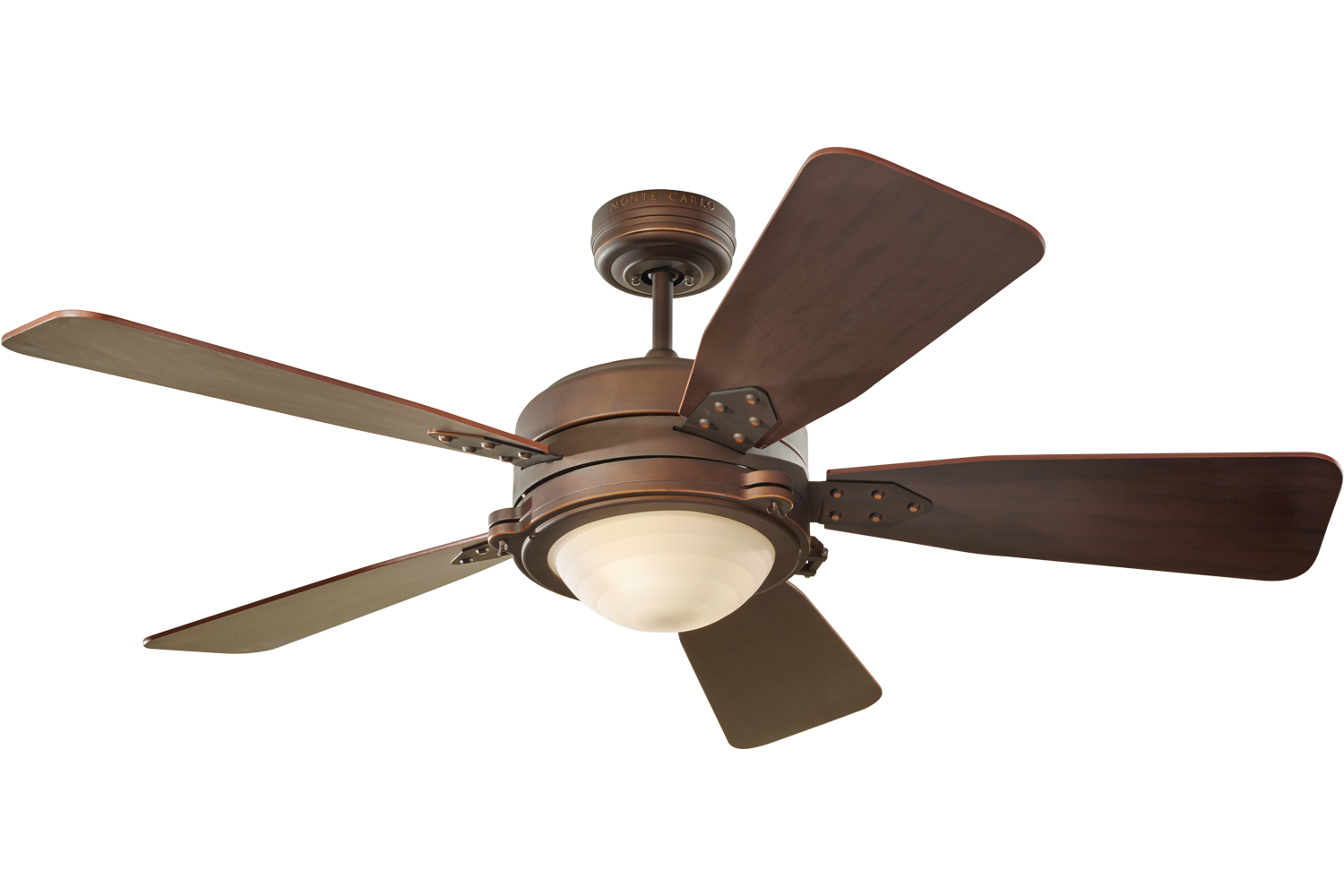 Vintage industrial ceiling fan with light by monte carlo 5vir52rbd - Industrial style ceiling fan with light ...