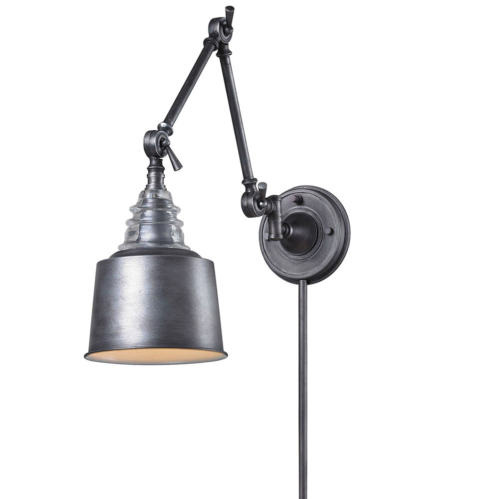 Wall Sconce Swing Arm Light : Insulator Plug-in Swing Arm Wall Sconce by Elk Lighting 66825-1