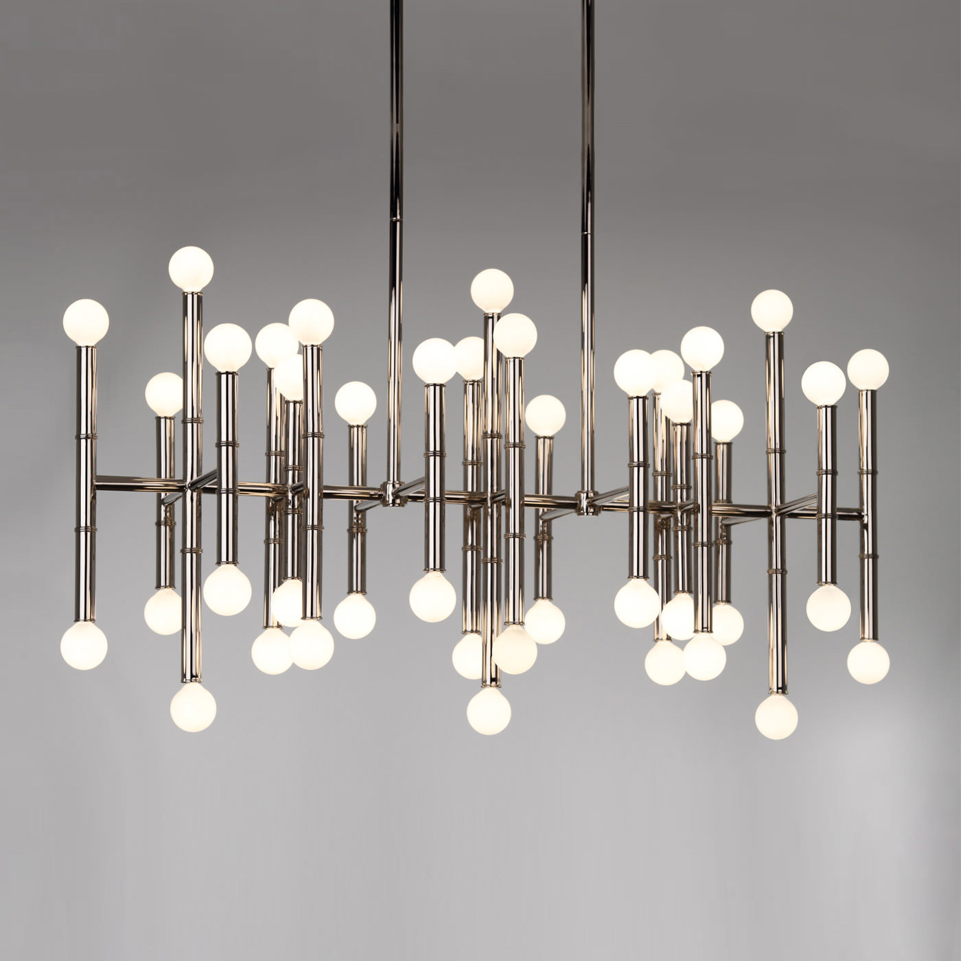 chandelier satin dorado from by linear industrial led nickel lighting vonn