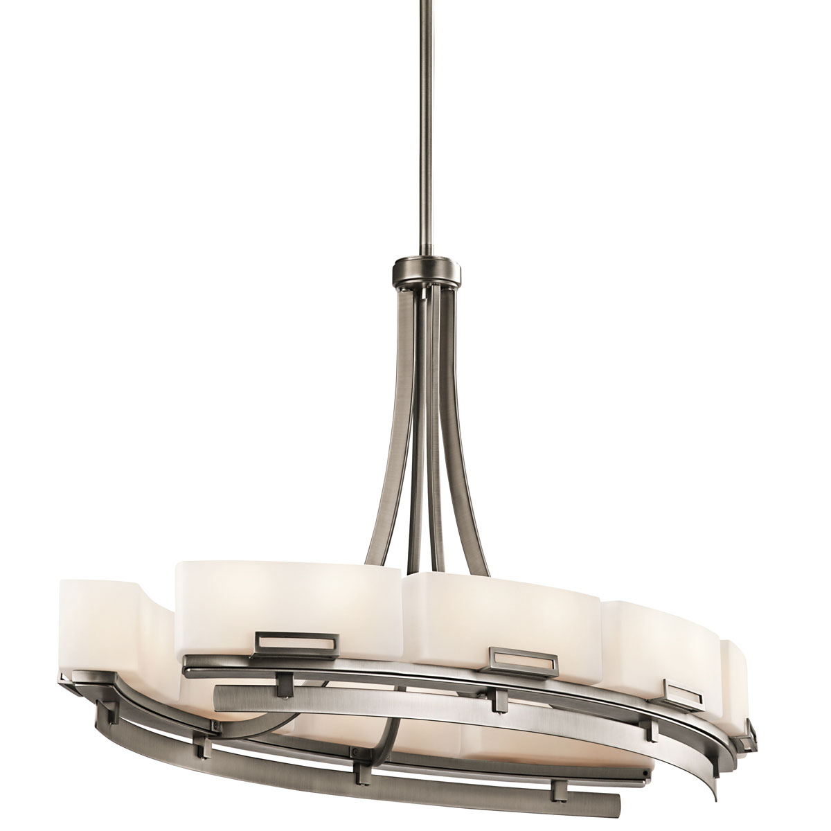 Leeds oblong linear chandelier by kichler 42431ap for Luminaire suspendu moderne