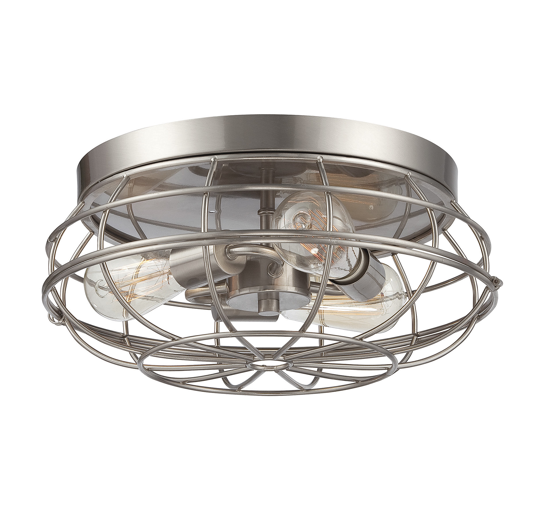 nickel mount light brushed industrial shades flush of ceiling ceilings products mesh lights