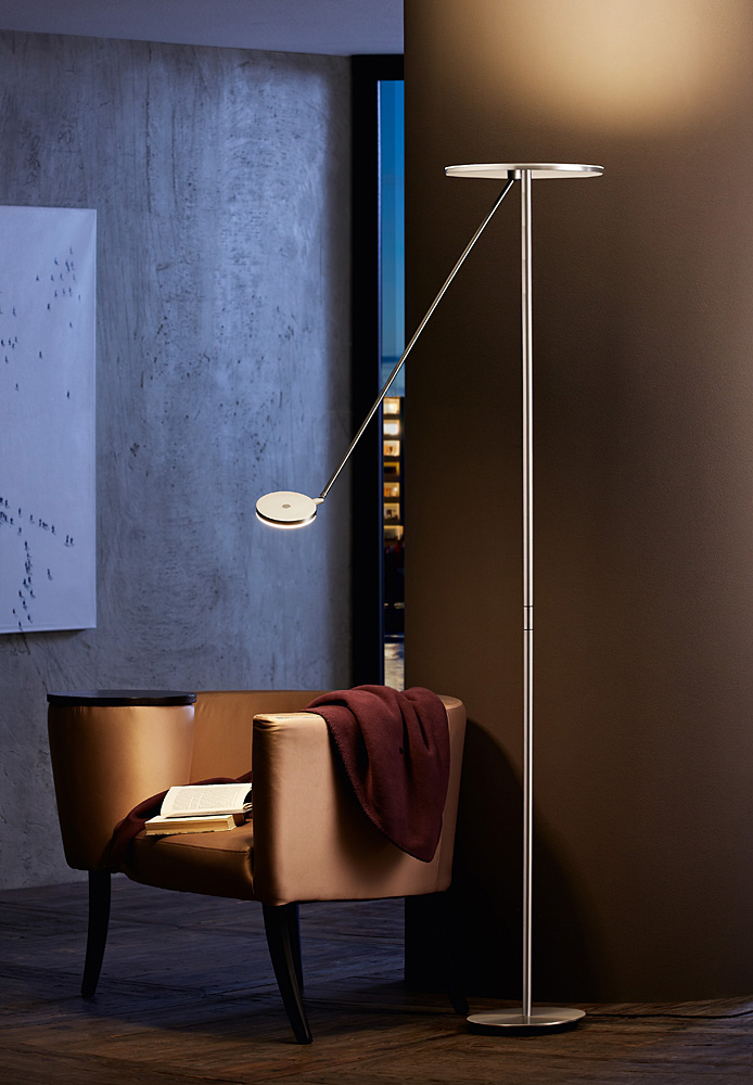 Plano Led Torchiere With Reading Arm By