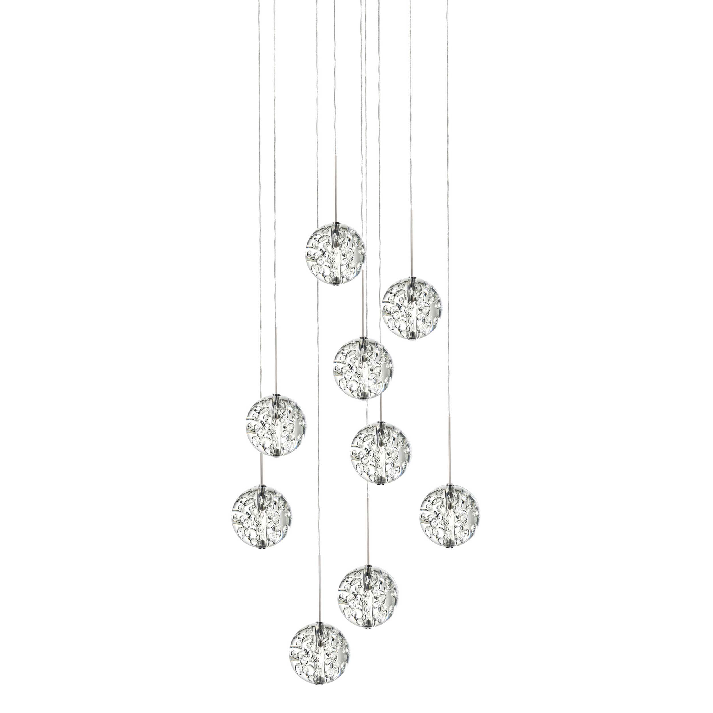 best service e77ae dce62 Bubble Ball 9 Light Round LED Pendant by PureEdge Lighting |  16RD-9-BBCL27-10FT-SN