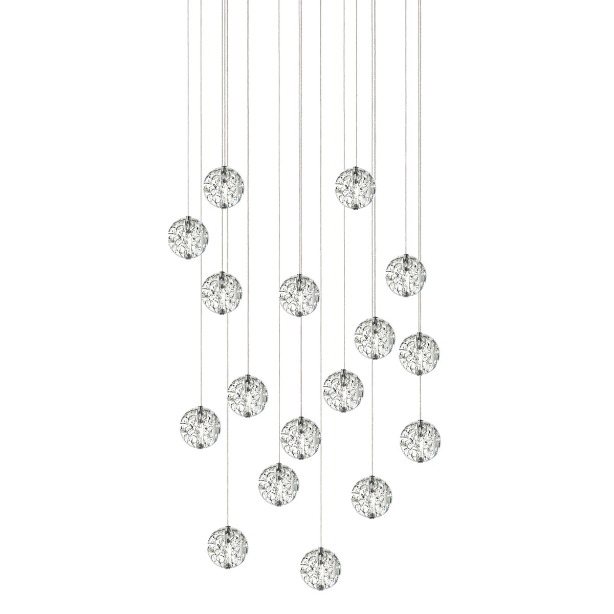 Bubble ball 17 light linear led pendant by pureedge lighting 33re 17 bbcl27 10ft sn